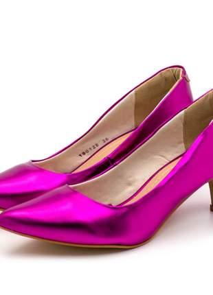 Sapato conforto scarpin salto baixo fino em napa