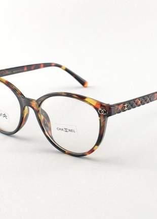 Armacao de óculos redonda chanel x2359 tartaruga