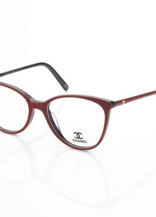 Armação de óculos redonda chanel ch3390 rosa vermelho e preto