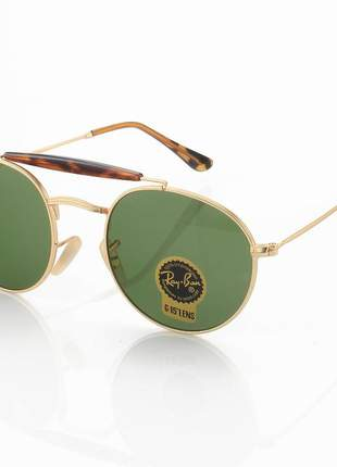 Óculos de sol ray-ban rb3747 redondo dourado e lente g15