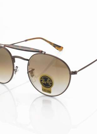 Óculos de sol ray-ban rb3747 redondo marrom e lente marrom degrade