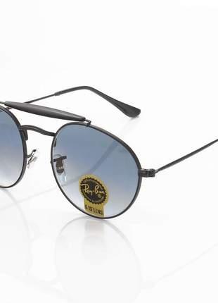 Óculos de sol ray-ban rb3747 redondo preto e azul degrade