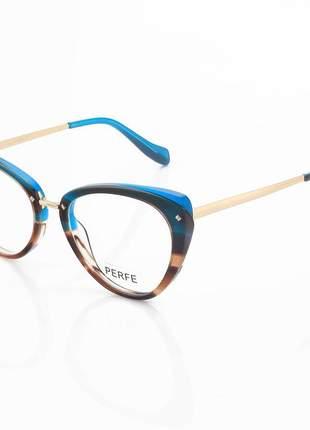 Oculos armação para grau gatinho ah - musgo degrade