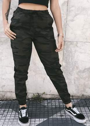 Calça jogger feminina punho elástico sarja grossa