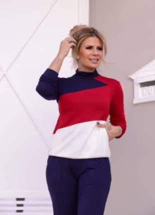 Conjunto feminino de calça e blusa de manga longa moletinho