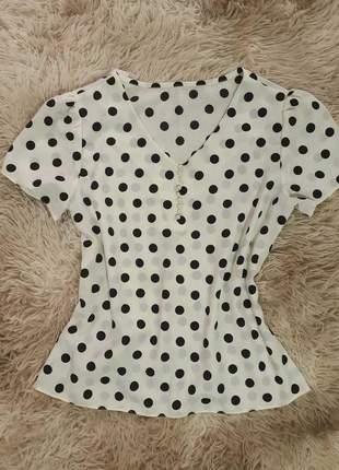 Blusa blusinha feminina crepe poá decote v moda evangelica