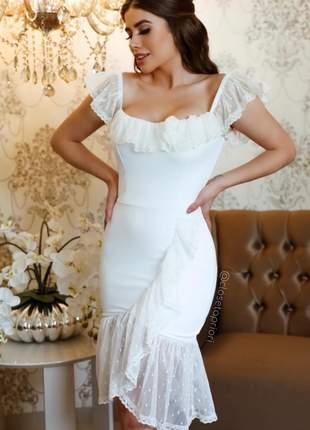 Vestido midi casamento civil noivado babados em tule com poá branco off| bela |