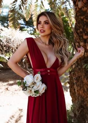 Vestido festa longo casamento civil pré- weding godê fluido formatura  off noivado