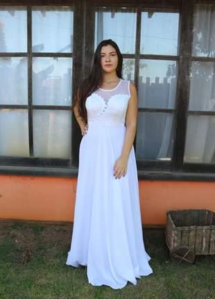 Vestido de noiva casamento civil cartório igreja campo gestante moda festa longo branco
