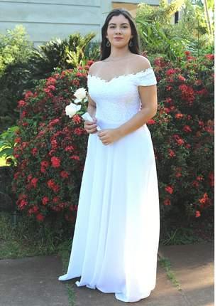 Vestido de casamento noiva festa cartório igreja civil longo pronta entrega branco manga