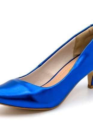 Sapato conforto  scarpin salto baixo fino em metalizado