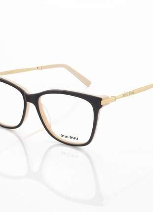 Armação de óculos quadrado miu miu vmu01m marrom e creme