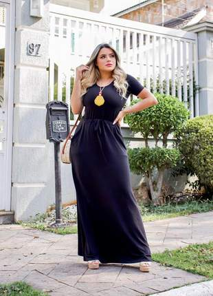 Vestido preto longo de manga curta
