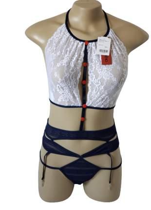 Conjunto lingerie  em renda com cinta liga - marinheira - grota veneno