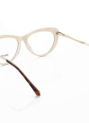 Armação de óculos gatinho miu miu vmu01v tartaruga e creme
