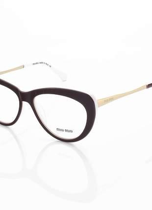 Armação de óculos gatinho miu miu vmu01v bordo e branco