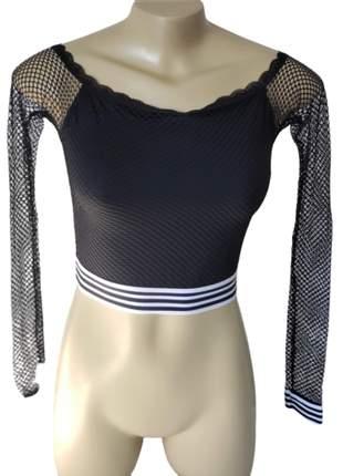 Cropped lingerie nuah manga longa com tela furada e elástico listrado - mimar