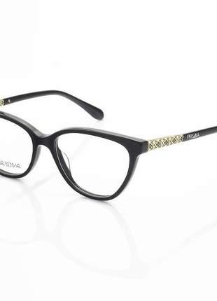 Armação de óculos oval my6242 acetato preto e dourado