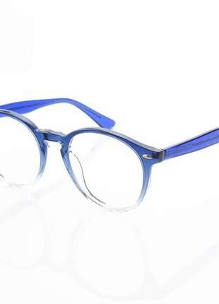 Armação de óculos redonda clear rb2180 acetato azul degrade