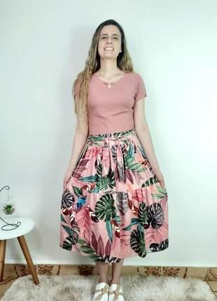 Saia midi 3 marias floral rodada babados moda evangelica