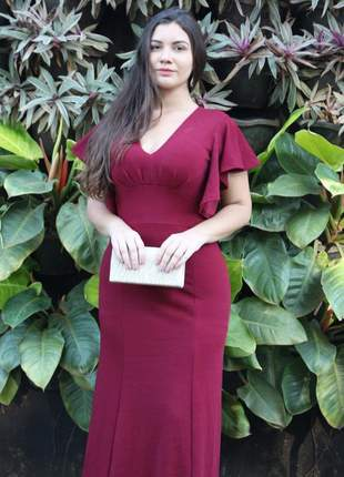 Vestido madrinha formatura convidadas manguinha moda evangélica festa bojo longo cores