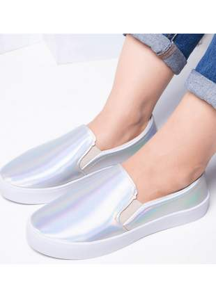 Tênis slip on metalizado