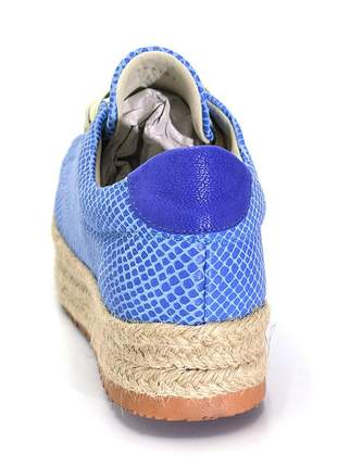 Tênis casuala estampa serpente azul com corda feminino