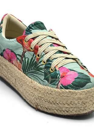 Tênis casual estampa floral com corda feminino