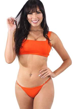 Biquini feminino top com alça laranja moda praia