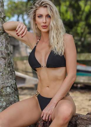 Biquini feminino top cortininha oncinha moda praia
