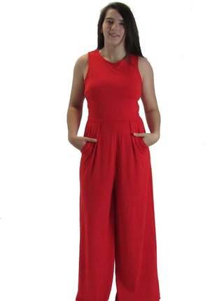Macacão longo social pantalona vermelho em viscolycra vcut