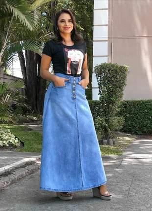 Saia longa jeans gode soltinha moda cristã evangélica casual