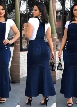 Jardineira longa jeans tubinho sereia moda cristã evangelica social casual salopete