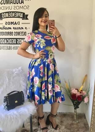 Vestido midi gode florido rodado soltinho moda evangelica cristã casual