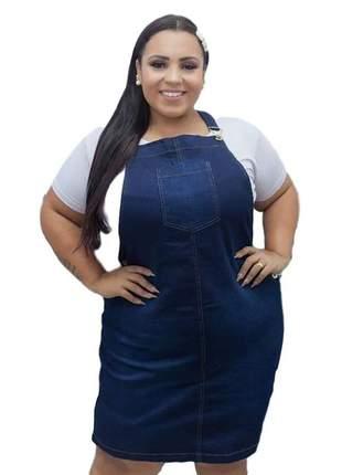 Jardineira plus size jeans gordinha midi moda evangelica casual social