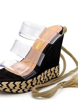 Sandália anabela tiras transparente salto preto corda amarrar na perna