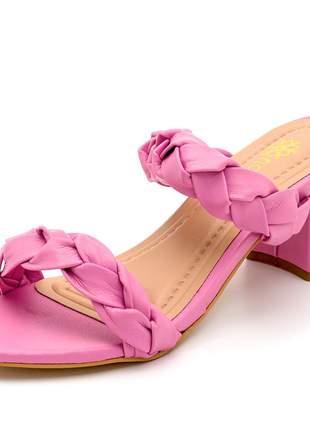Sandália tira de trança salto medio grosso napa rosa chiclete