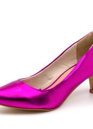 Sapato scarpin salto baixo fino rosa pink metalizado