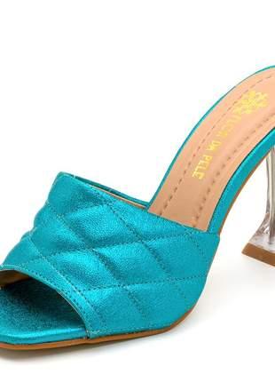Sandália tamanco salto taça transparente bico quadrado azul claro cintilante