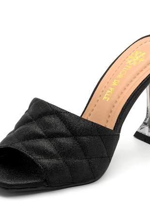 Sandália tamanco salto taça transparente bico quadrado preto