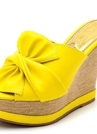 Sandália anabela tamanco laço amarelo salto plataforma juta bege
