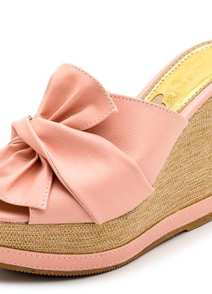 Sandália anabela tamanco laço rosa salto plataforma juta bege