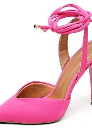Sapato scarpin bico fino folha nobuck rosa salto alto fino amarrar na perna