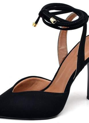 Sapato scarpin bico fino folha nobuck preto salto alto fino amarrar na perna