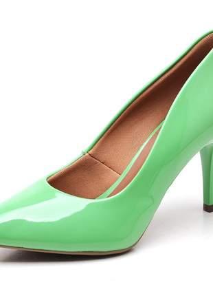 Sapato scarpins feminino salto médio fino verniz verde menta