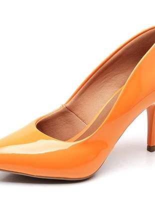 Sapato scarpins feminino salto médio fino verniz laranja