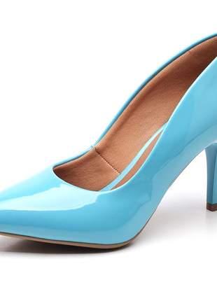 Sapato scarpin feminino salto médio fino verniz azul tiffany