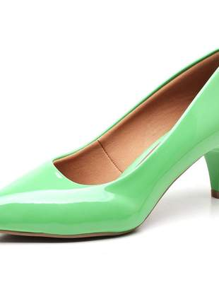 Sapato scarpin feminino salto baixo fino verniz verde menta