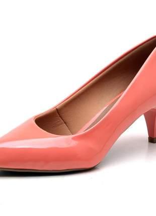 Sapato scarpin feminino salto baixo fino verniz coral