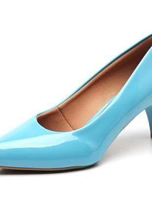 Sapato scarpin feminino salto baixo fino verniz azul tiffany